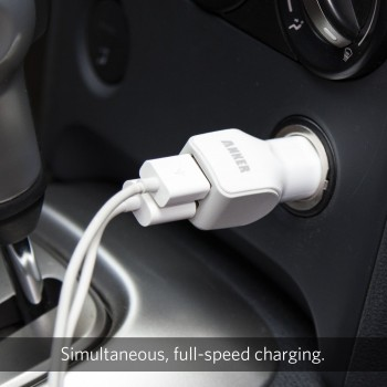 Anker 24W Dual-Port Rapid USB Car Charger with PowerIQ™ Technology [White]