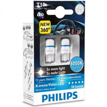 PHILIPS Xtreme Vision 360 LED W5W T10 8000K (Twin)