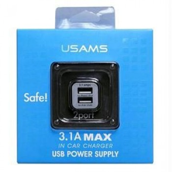 USAMS 3.1A Compact Dual USB Car Charger Adapter (Black)