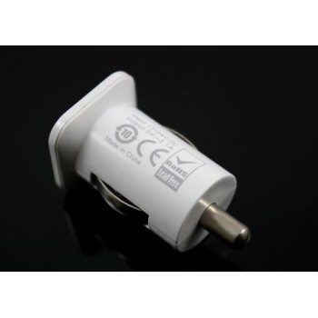 USAMS 3.1A Compact Dual USB Car Charger Adapter (White)